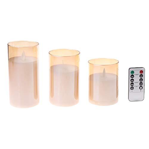 LANCHEN - Paquete de 3 Velas LED sin Llama, Temporizador Parpadeante, Mecha Falsa remota, Llama en Movimiento, imitación