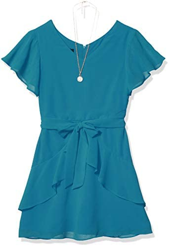 Amy Byer Girls Flutter Sleeve Dress with Ruffle Skirt Sunset Teal 10 product image