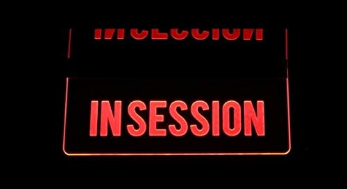 ValleyDesignsND in Session Recording Studio Court Room Ceiling, Desk, or Flat to The Wall Mount Acrylic Lighted Edge Lit Sign Light Up Plaque Full Size Made in The USA Mirr 13558