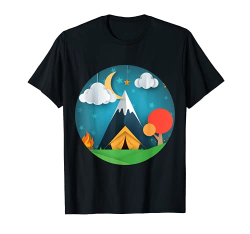Cheerful boondocking paper art night camping fire Tシャツ