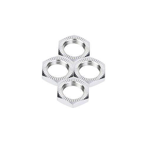 Drfeify Radmuttern, Aluminiumlegierung M12 Radmuttern 17mm Schraubenschlüssel Upgrade Teil Kompatibel mit 1/8 RC Auto( Silber)
