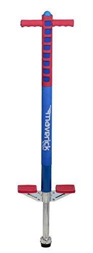 Flybar Foam Maverick Pogo Stick For Kids Ages 5+, Weights 40 to 80 Pounds By the Original Pogo Stick Company, Red/Blue