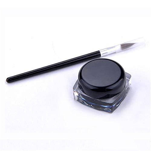 Idiytip Kit de Crème de Eyeliner Gel Imperméable à l'eau 2Pcs Mini Cosmétique avec Brosse Eyeliner