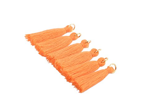 KONMAY 50PCS 1.4''(3.5cm) Soft Handmade Silky Tiny Craft Tassels with Golden Jump Ring for DIY Projects (Orange)