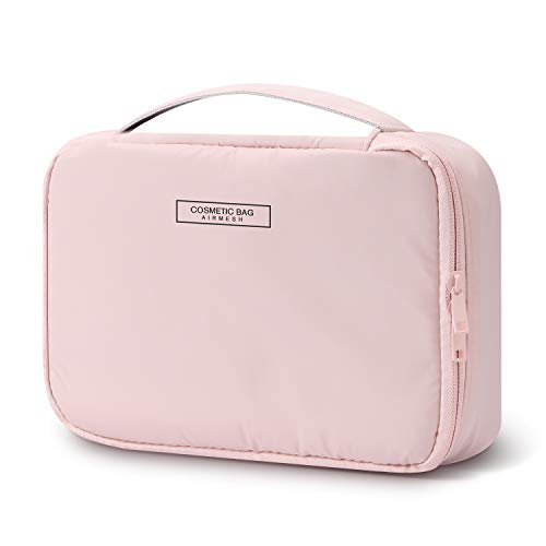 Mossio Portable Travel Makeup Beauty Bag Multifunction Cosmetic Organizer for Women Girls with Inner Pouch (Light Pink)