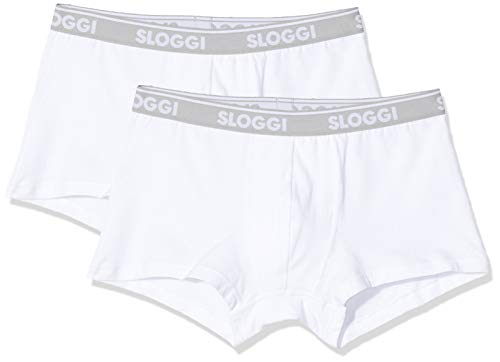 Sloggi for men Herren GO ABC H Hipster Boxershorts, Weiß (White 0003), Medium (Herstellergröße: M) (2er Pack)