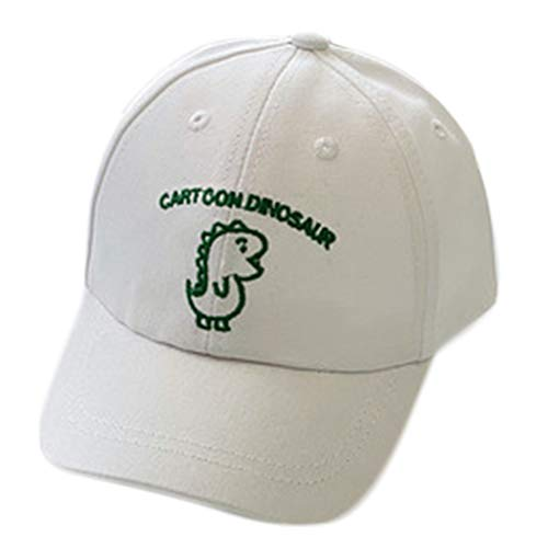 GROOMY Gorra con Visera, Infant Baby Sunscreen Cotton Gorra de béisbol Dibujos Animados Dinosaurio Bordado Papá Sombrero-Blanco