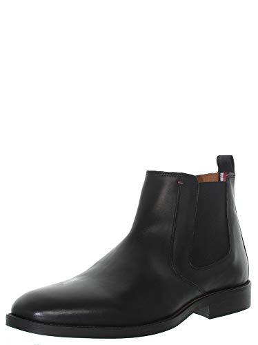 Tommy Hilfiger Herren Essential Leather Chelsea Boots, Schwarz (Black), 44 EU