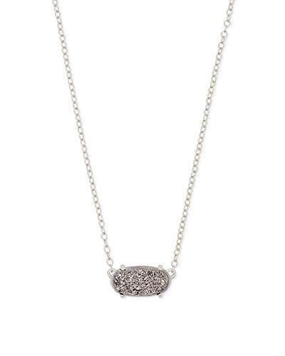 Kendra Scott Ever Short Pendant Necklace for Women, Dainty Fashion Jewelry, Rhodium-Plated, Platinum Drusy
