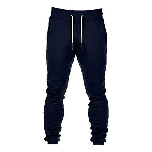 LIMILI Pantalones de deporte para hombre, para correr, para otoño e invierno, con cordones, bolsillos con cremallera azul marino L
