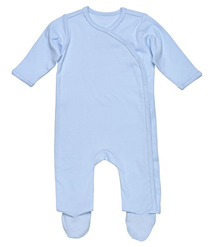Under the Nile Baby Boy Side-Snap Footie Size Preemie Solid Blue Organic Cotton