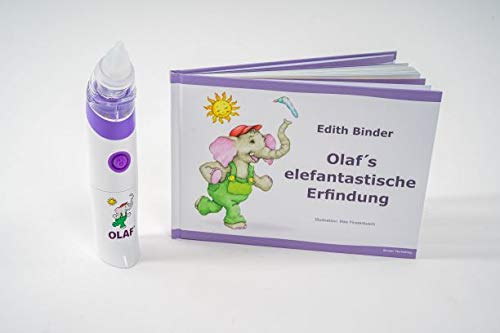 OLAF Geschenkset/Sekretsauger mit Kinderbuch/Elektrischer Babynasensauger/Medizinprodukt/sanft, hygienisch, zuverlässig, leicht, einfach