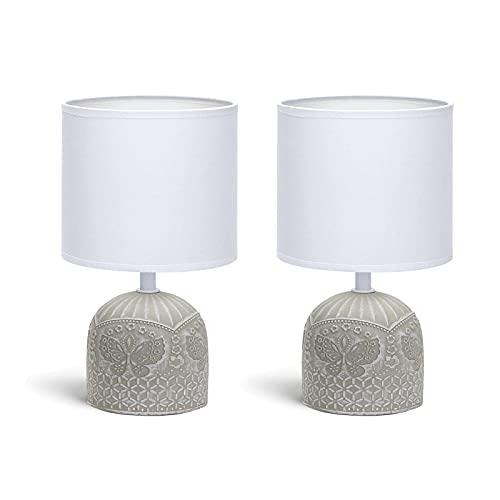 2 Lámparas de Mesita de Noche, Cuerpo de Diseño, Pantalla de Tela,...