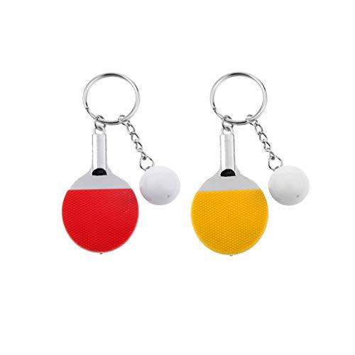 2X Lindo Tenis De Mesa Raqueta Ping Pong Paleta Murciélago Colgante Llavero A + B Colores