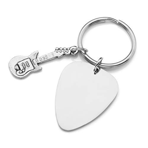 BOPREINA Personalized Gravur Edelstahl Gitarren Plektren + Gitarre Schlüsselanhänger Paare Liebe Freundschaft Schlüsselbund Schlüsselring Keychain, Silber (#01, Non-Gravur)
