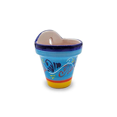WG WATAGIFT 1 x Vaso per Fiori da Parete in Ceramica Dipinto a Mano | Fioriera da Giardino per Esterni con Foro per Appendere e drenaggio | Fatto in Spagna | Ø 13 cm H 16 cm | (Cordobesa Celeste)
