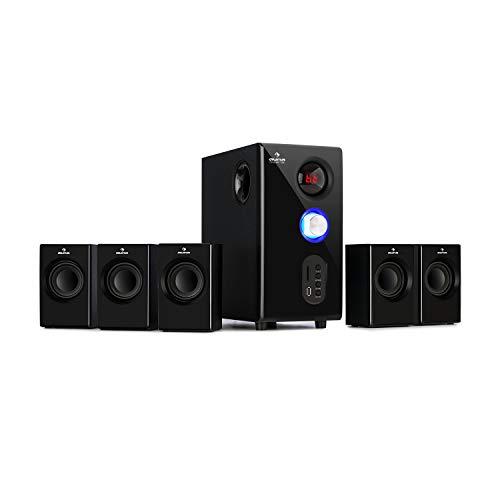 auna Concept 5.1 Soundsystem, Heimkino, OneSide Subwoofer, Balanced Sound Concept, 5.1 Heimkinosystem mit Bluetooth, USB-Port, SD-Slot, UKW-Tuner, inkl. Fernbedienung, 75 Watt RMS, schwarz