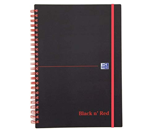 Oxford cuaderno de espiral, 400047656Black N 'Red 5Pack DIN A5cuadrícula Tapa flexible 70hojas negro/rojo