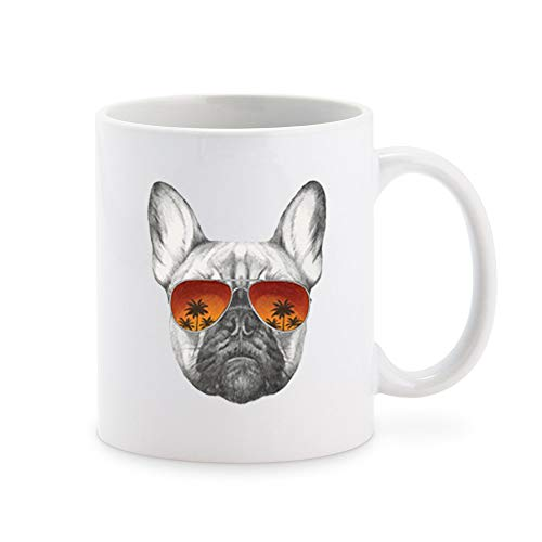 Cool Pencil Sketch Frenchie French Bulldog with Sunset Sunglasses Coffee Mug Tea Cup Novelty Gift Mugs 11 oz