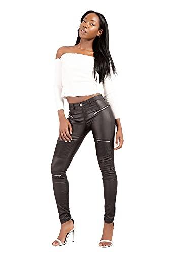 Crazy Lover Mujer Sexy Leggins Cuero con Bolsillo Skinny Elástico Pantalón (42, Negro)