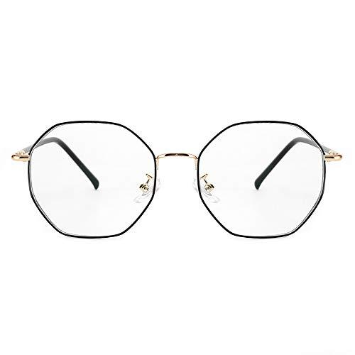 Cyxus Vintage Blue Light Blocking Eyeglasses Computer Eyewear Anti Eyestrain Irregular Frame Black&Gold 8008