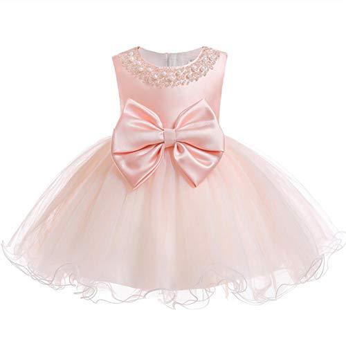 FYMNSI Vestido de niña para fiesta de cumpleaños o bautizo, con lazo, tutú de princesa, dama de honor, vestido de verano, 0 a 24 meses, Rosa., 12-18 Meses