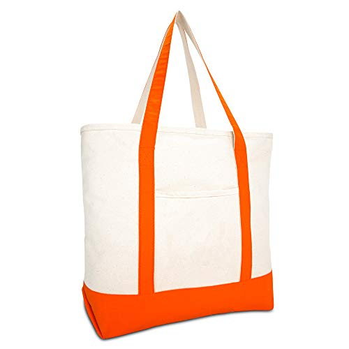 DALIX 22' Large Cotton Canvas Zippered Shopping Tote Grocery Bag in Orange