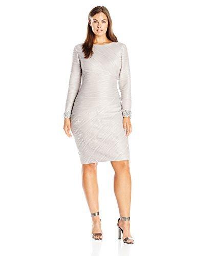 Eliza J womensEJ6W2154Womens Long Sleeve Sheath with Beaded Cuff Detail Long-Sleeve Dress - Beige - 24W
