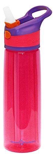 Green Canteen Trinkflasche aus Tritan-Kunststoff, einwandig, mit rosafarbenem Druckknopf, mit orangefarbenen Akzenten Einwandige Tritan-Flasche. 680 ml (24 oz) violett / pink
