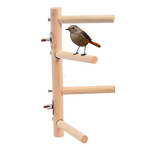 JAVOUKA Bird Perch Stand, Wood Parrot Budgie Perch Toy Bird Cage Branch Perch Accessories for Parakeets Cockatiels Conures Macaws Love Birds