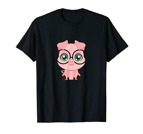 Gafas de cerdo lindo sudor divertido Animal Nerd Geek Hipster Camiseta