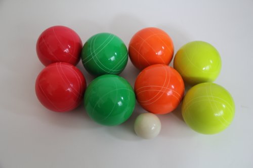 BuyBocceBalls Premium Quality EPCO GLO Tournament Bocce Set - 110mm Green, Red, Yellow, Ora...