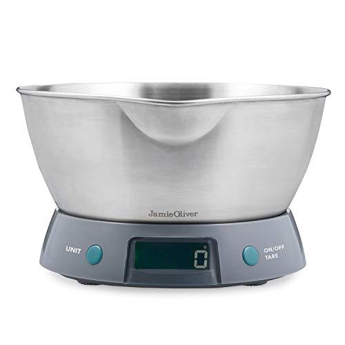 Jamie Oliver JB4210 Balance de cuisine digitale 5kg avec bol 2L en acier inoxydable, Gris