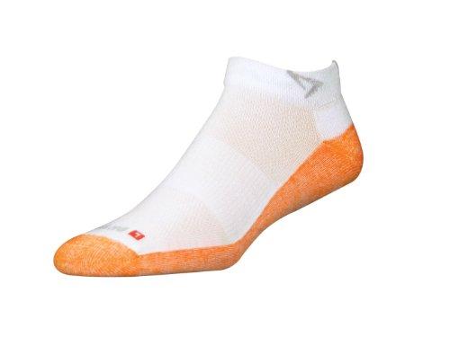 Drymax Maximum Protection Trail Run Mini Crew Socks, White/Orange, Large