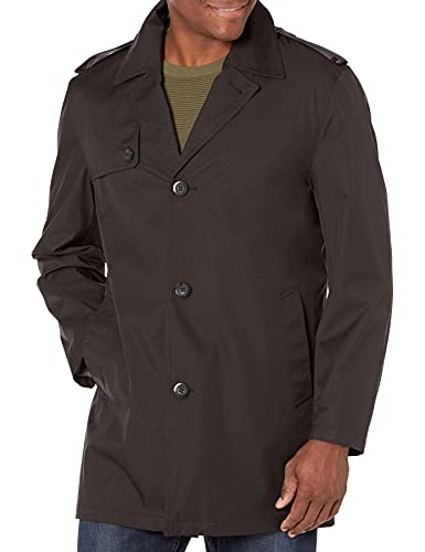 LONDON FOG Men's Flint Short Single Breasted Rain Coat, Black, Medium