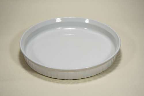 Corning Ware French White Vintage 10 1/2' Quiche Baking PAN Dish Casserole Stamped F-3-B F3B 10 INCH Original Smooth Bottom PYROCERAM Glass (not Newer Stoneware Version) Made in USA