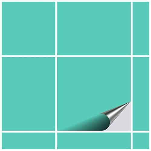 FoLIESEN Fliesenaufkleber 20x20 cm - Fliesen-Folie Bad - Klebefolie Küche - 20 Klebefliesen, Mint matt