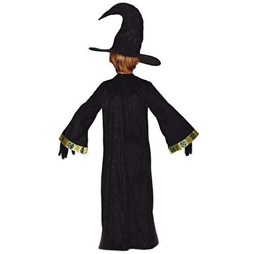 Amakando Geheimnisvolles Zauberkostüm für Jungen / Schwarz-Gold 5 - 6 Jahre, 110 - 115 cm / Zauberumhang mit Zauberer-Hut für Kinder / EIN Highlight zu Kinder-Fasching & Mottoparty