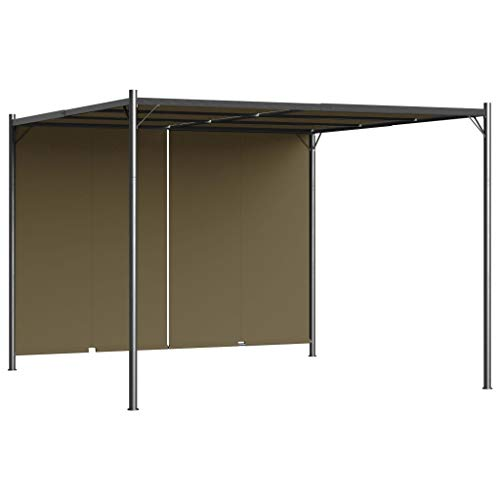 vidaXL Garden Pergola with Retractable Roof Gazebo Outdoor Lean-to Pergola Entrance Carport with Adjustable Sliding Canopy Taupe 180 g/m²