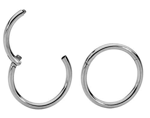1 Pair Titanium 18G (Thin) Hinged Segment Ring Hoop Sleeper Earrings Body Piercing - 7mm Titanium