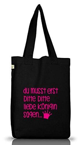 Shirtstreet24 Bitte bitte liebe Königin, Jutebeutel Stoff Tasche Earth Positive (ONE SIZE), Größe: onesize,Black