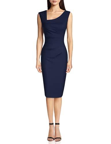 MUXXN Women's 1950s Sleeveless Slim Business Pencil Dress (S,Blue)