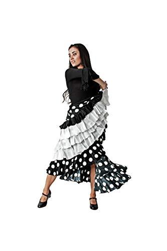 Costumizate! Falda de Lunares Blanco con 4 Volantes Blanco para Mujer Adulta Talla s