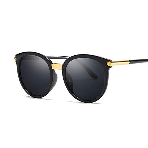 AleXanDer1 Gafas de Sol Gafas de Sol Redondas Negras Mujeres de Moda Gafas de Sol Gafas de Sol Gafas de Sol Damas Espejo de Recubrimiento Colorido (Lenses Color : C4)