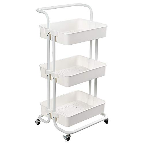 Coideal 3 Tier Rolling Utility Cart Trolley Storage Shelves Multifunction Service Cart with Mesh Basket Handle and Lockable Wheels for Bathroom Kitchen Office (White)