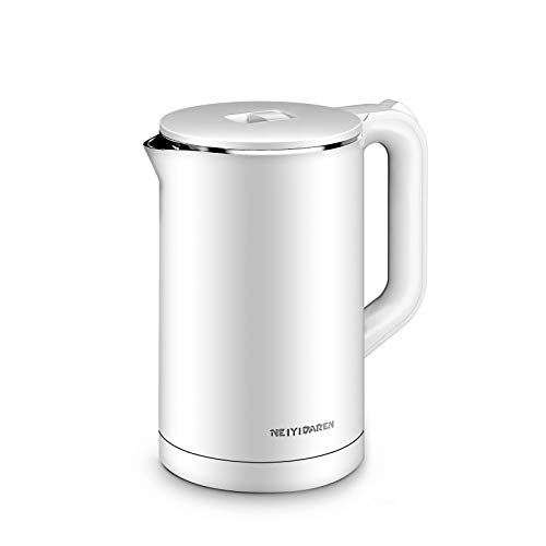 Electric Kettle, 1.7L 1500W Double Wall 100% Stainless Steel BPA-Free Cool Touch Tea Kettle Hot Water Boiler with Overheating Protection, Cordless with Auto Shut-Off and Boil-Dry