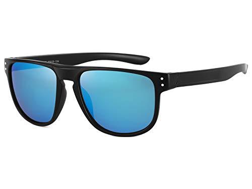 EFE Gafas de sol deportivas polarizadas mujer hombre mujer unisex polaroid gafas Retro Diseñado de espejo ligeros comodos protección UV400 redondas Pesca Senderismo Conducir Running azul/negro