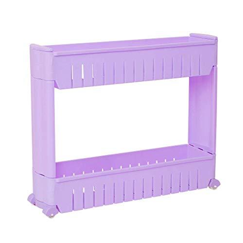 DyniLao Estante organizador de almacenamiento de 2 niveles con ruedas, estante deslizable para torre de almacenamiento de nevera, carro de almacenamiento de espacio delgado para lavandería/baño/c