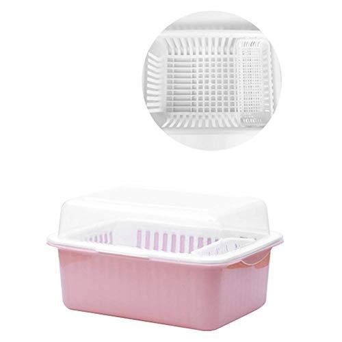 Gpzj Escurreplatos, escurridor de plástico de Cocina con Tapa Tenedor Cuchara Organizador escurreplatos 46 * 36 * 28 cm-F
