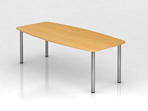 Hammerbacher Konferenztisch - Gestellvariante Rundrohrbeine, für 8 Personen - Buche-Dekor | KT22C/6